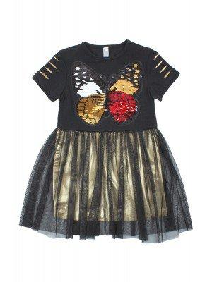 Платье нарядное с двойной юбкой из кулирки с лайкрой, сетки и ткани диско