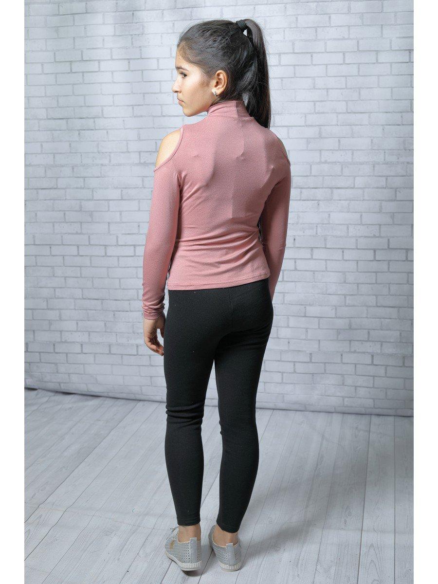 Блуза (лонгслив) из вискозы с аппликацией, цвет: пудра