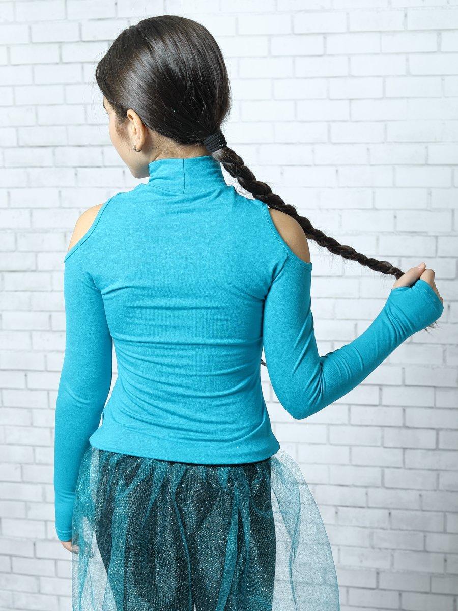 Блуза (лонгслив) из вискозы с аппликацией, цвет: темно-бирюзовый