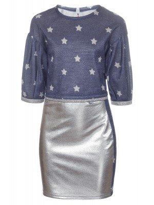Комплект (блуза из джерси и юбка из футера 2-х нитка с фольгированием