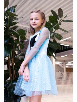 Платье нарядное с двойной юбкой, с аппликацией