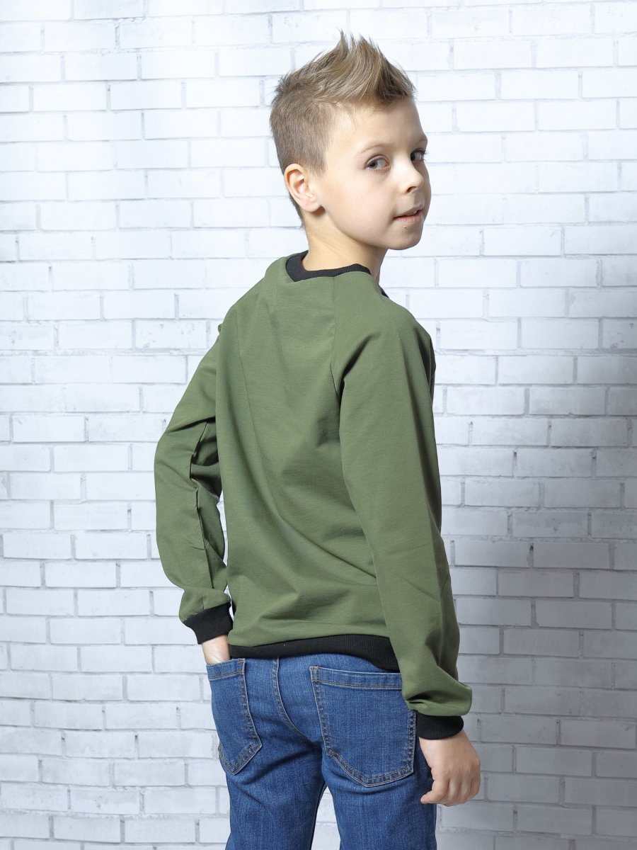 Свитшот (джемпер) для мальчика прямой из футера 2-х нитка, цвет: хаки