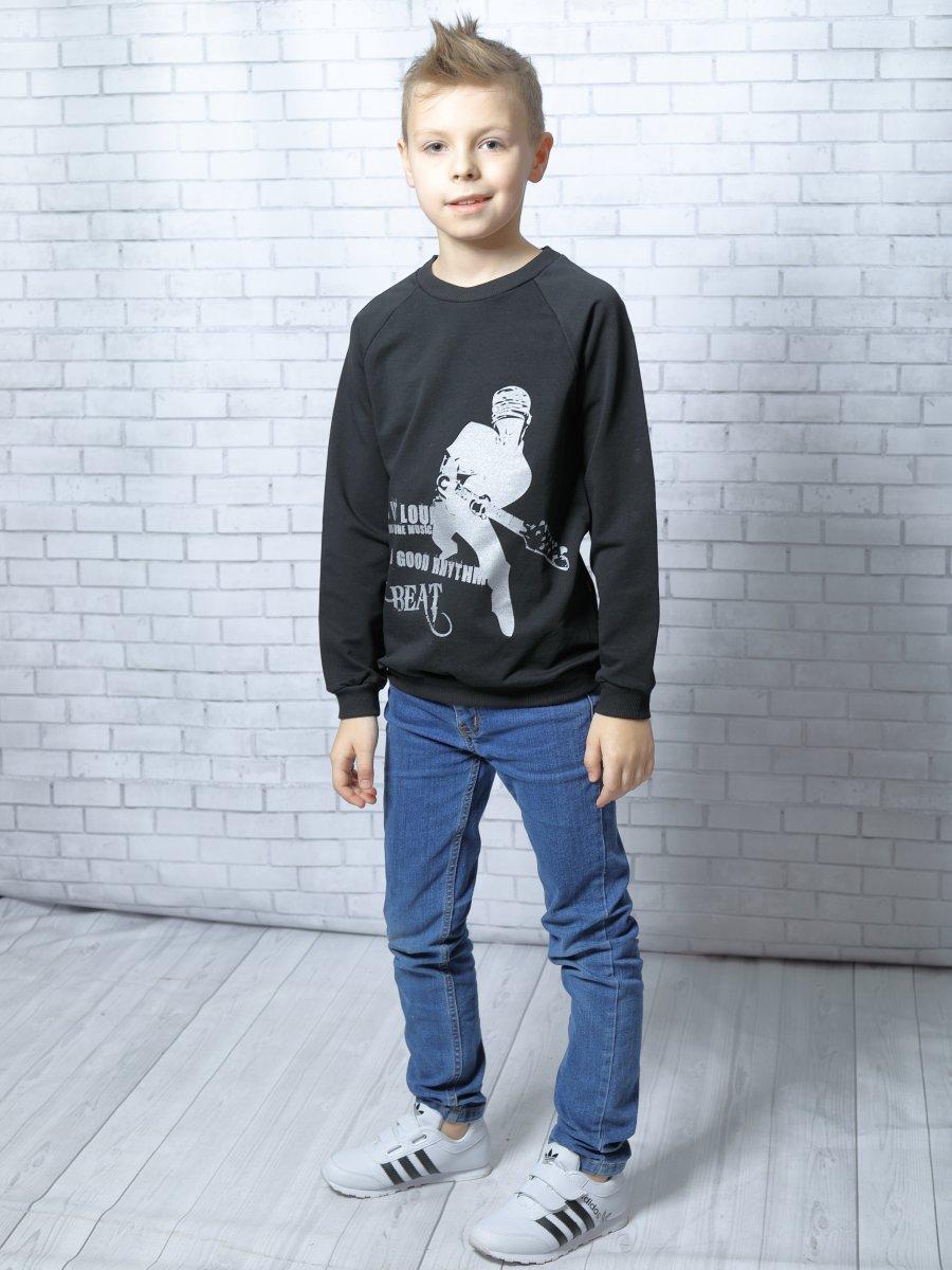 Свитшот (джемпер) для мальчика прямой из футера 2-х нитка, цвет: черный
