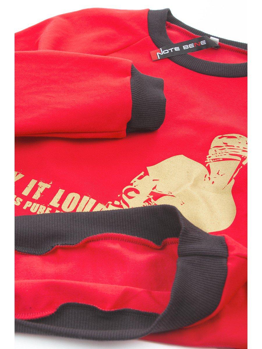 Свитшот (джемпер) для мальчика прямой из футера 2-х нитка, цвет: красный