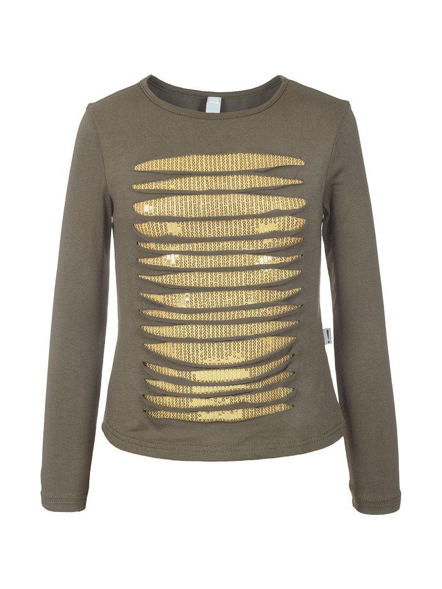 Блуза (Лонгслив) нарядная из вискозы, цвет: хаки
