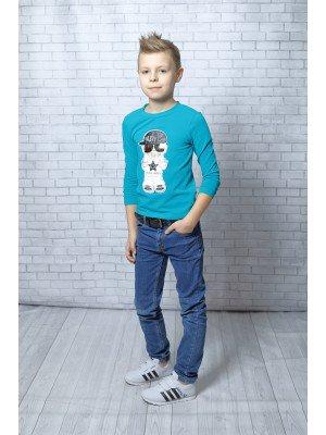 Лонгслив (футболка с длинным рукавом) для мальчика из кулирки с лайкрой