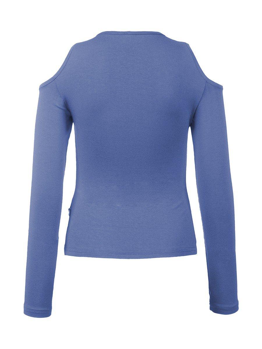Блуза (Лонгслив) нарядная трикотажная из вискозы, цвет: васильковый