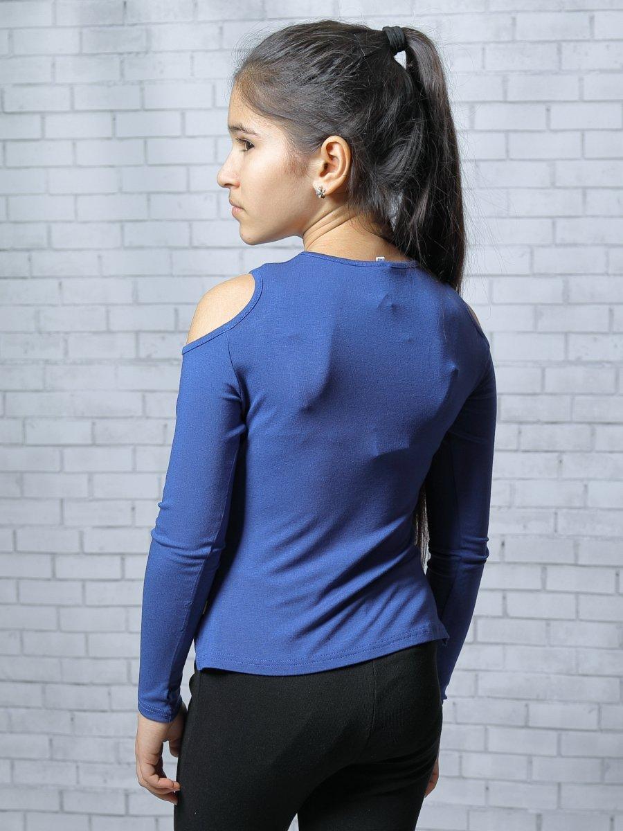 Блузка прилегающего силуэта, цвет: васильковый