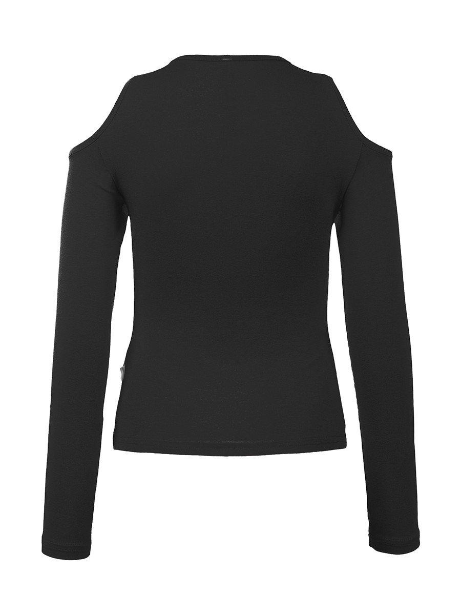Блуза (Лонгслив) нарядная трикотажная из вискозы, цвет: черный