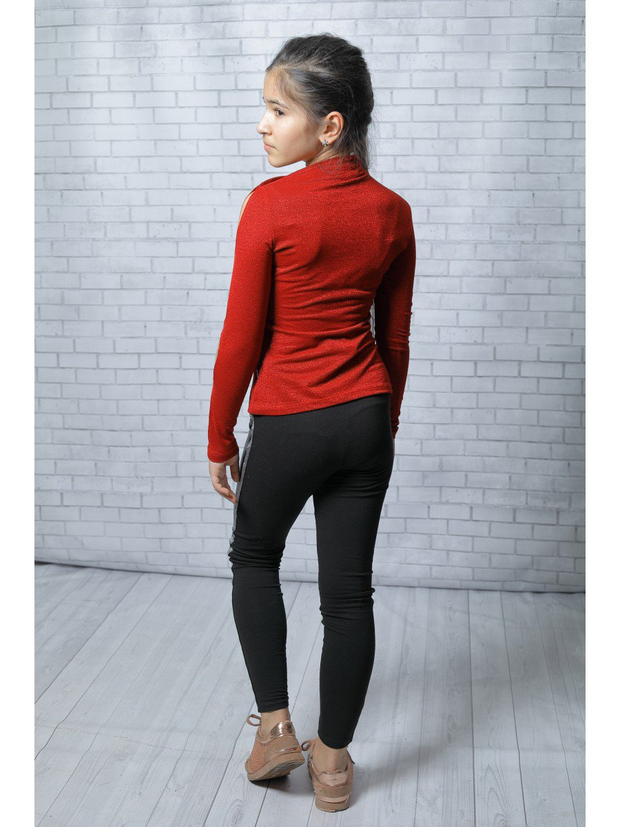 Блуза из трикотажного полотна с метализированной нитью, цвет: красный