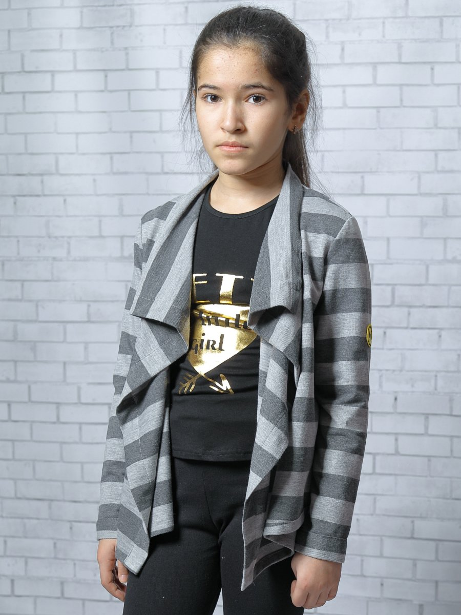 Кардиган прямого силуэта для девочки, цвет: светло-серый