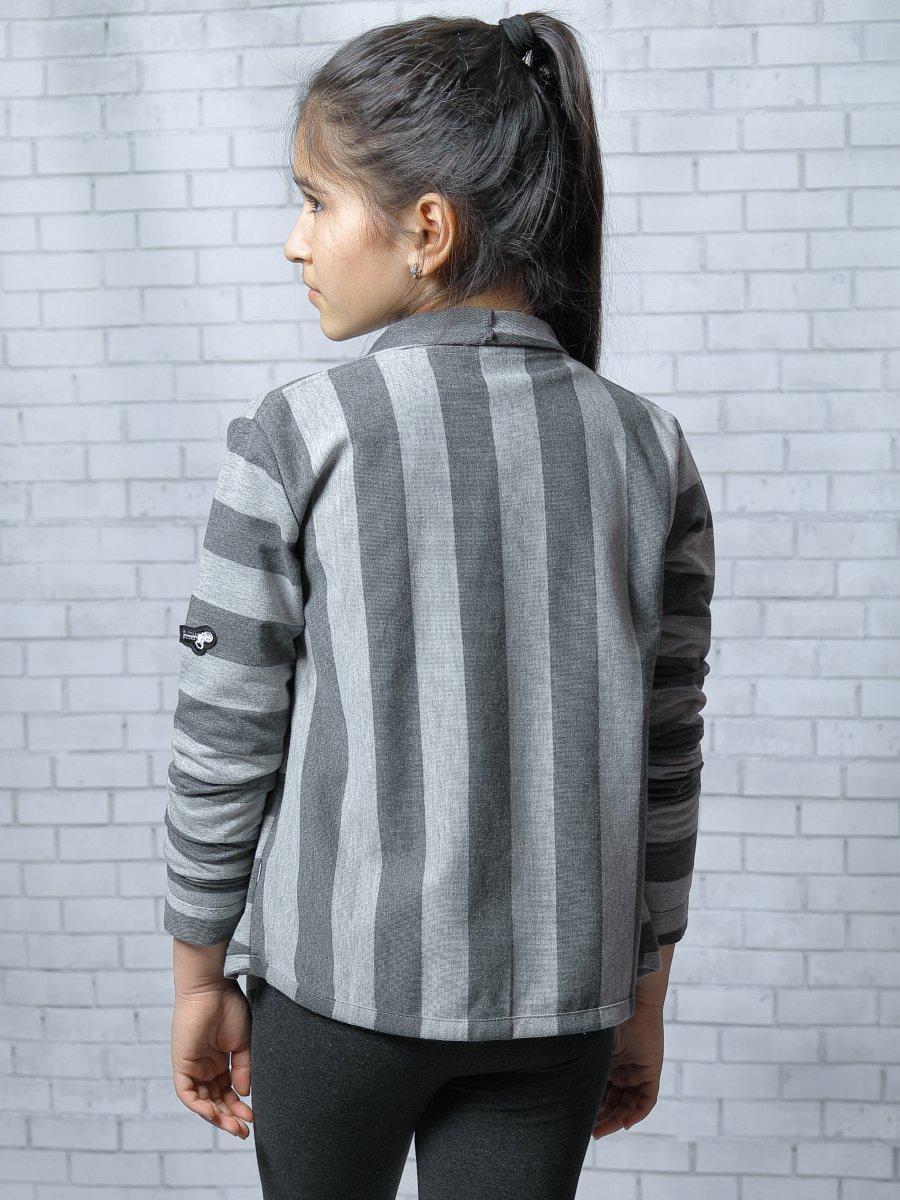 Кардиган прямого силуэта для девочки, цвет: серый