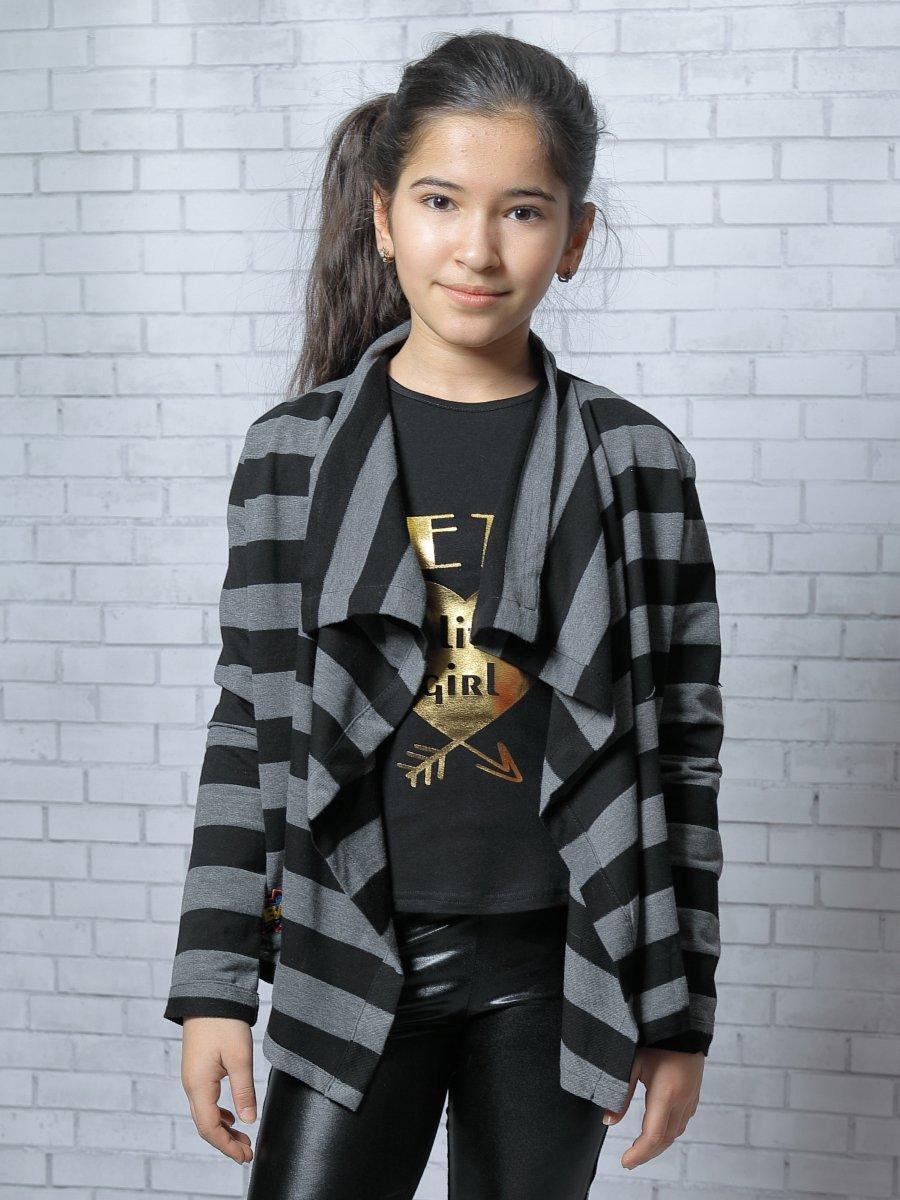Кардиган прямого силуэта для девочки, цвет: темно-серый