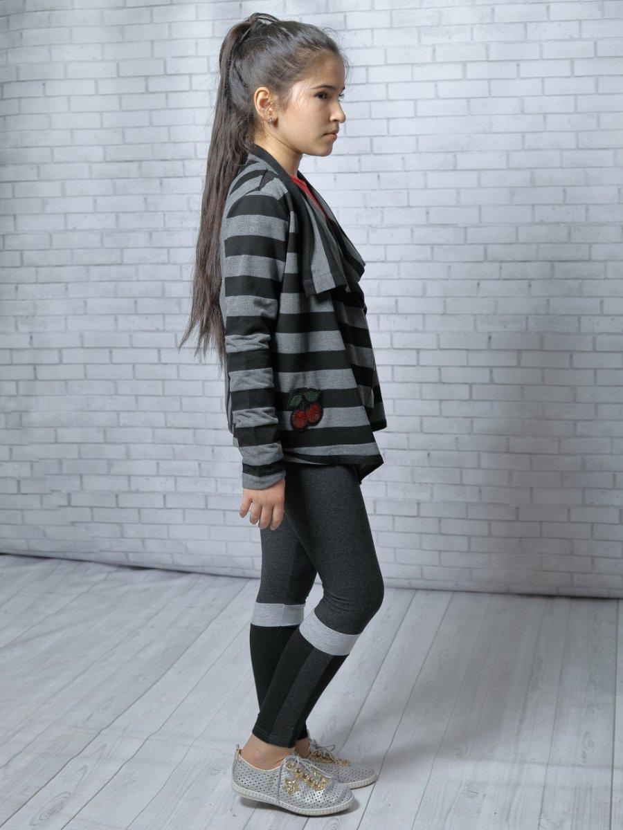 Кардиган прямого силуэта для девочки, цвет: серый меланж