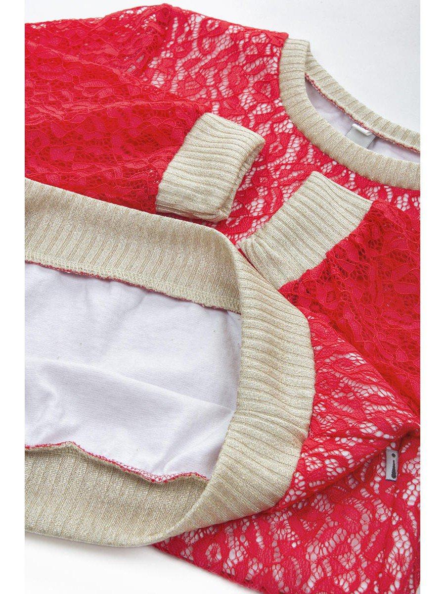 Блузка нарядная из гипюра, цвет: красный
