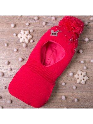 Шапка-шлем вязаная, на синтепоне для девочки