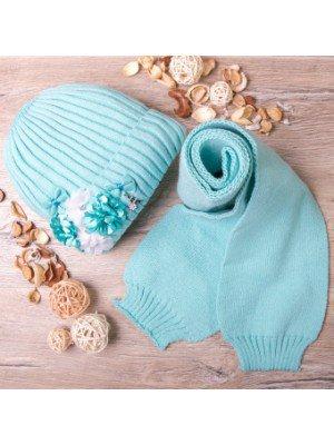 Набор для девочки: шапка вязаная на флисе и шарф