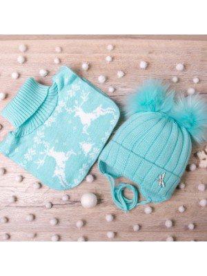 Набор для девочки: шапка на синтепоне и манишка