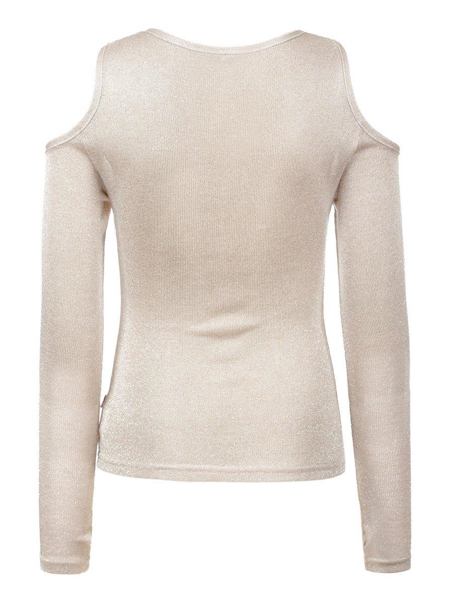 Блуза (лонгслив) из трикотажного полотна, цвет: бежевый