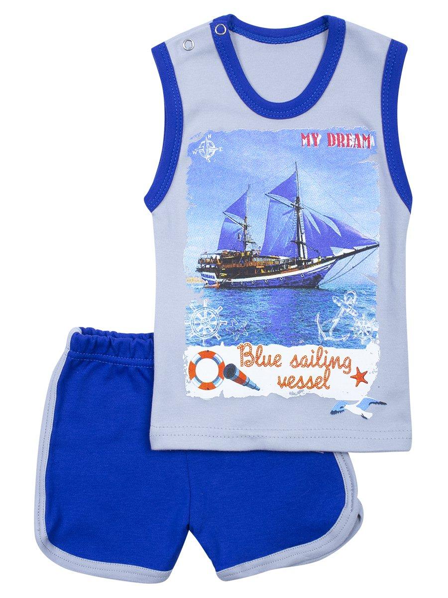 Комплект для девочки: майка и шорты, цвет: синий