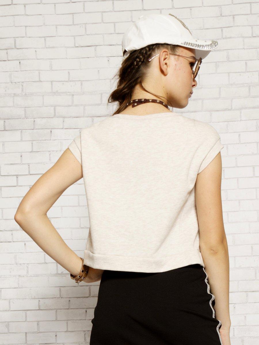 Блузка укороченная прямого силуэта, цвет: бежевый