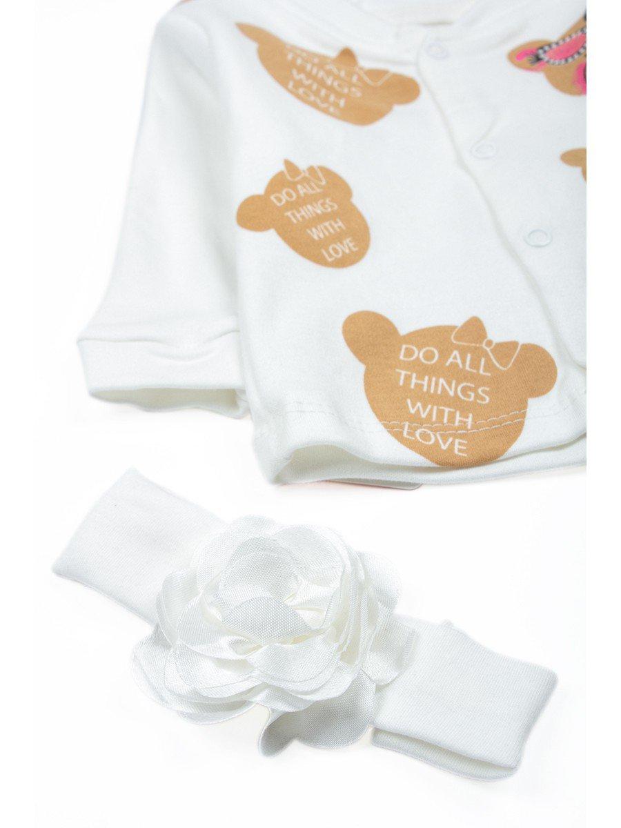 Комплект для девочки: кофточка, штанишки и повязка на голову, цвет: молочный