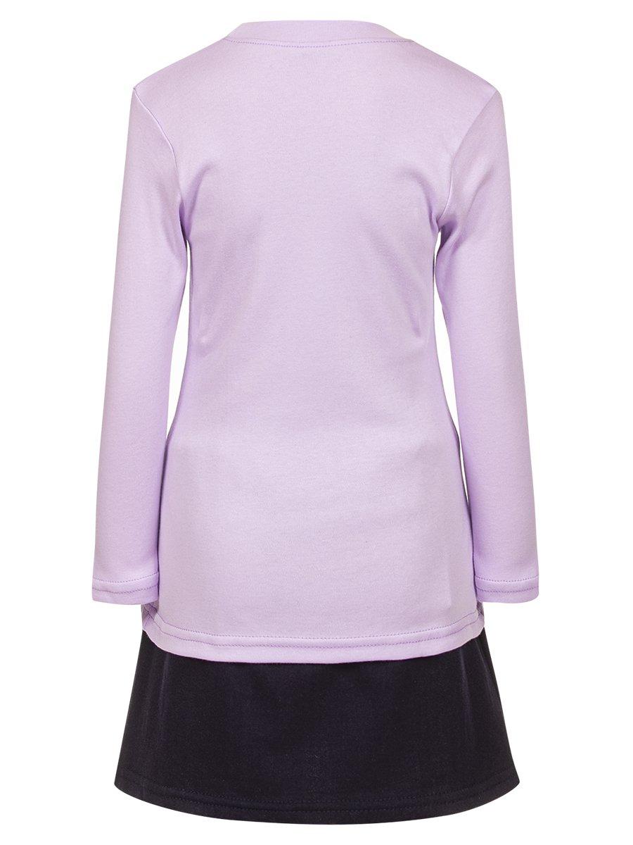 Комплект для девочки: лонгслив и юбка, цвет: сиреневый