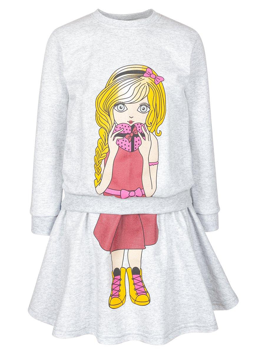 Комплект для девочки: свитшот и юбка, цвет: серый меланж