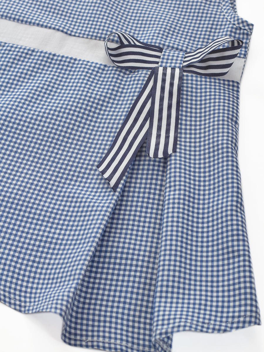 Блуза (топ) для девочки из текстиля, цвет: синия клетка