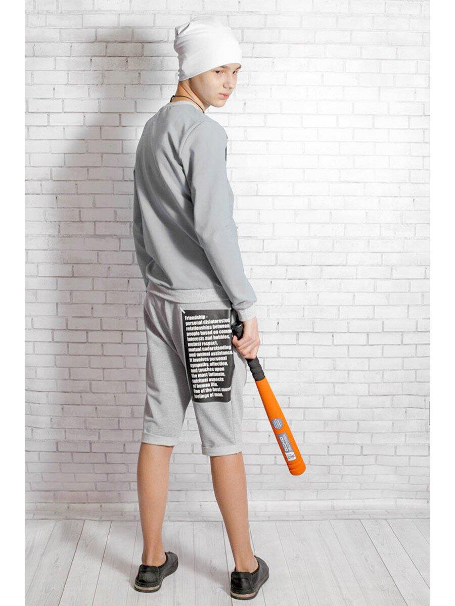 Бриджи для мальчика из футера 2-х нитка, цвет: серый меланж
