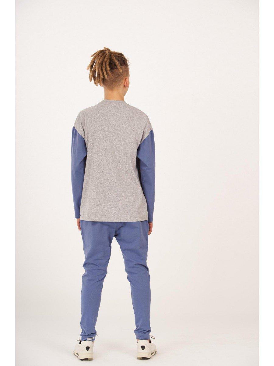 Брюки джоггеры зауженные по низу на манжете для мальчика, цвет: джинсовый