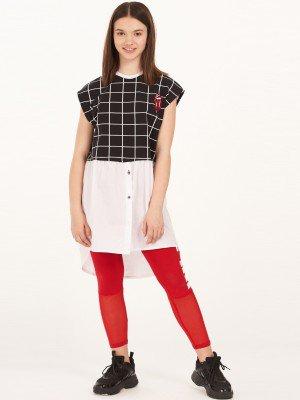 Платье-туника для девочки из кулирки с лайкрой и текстиля