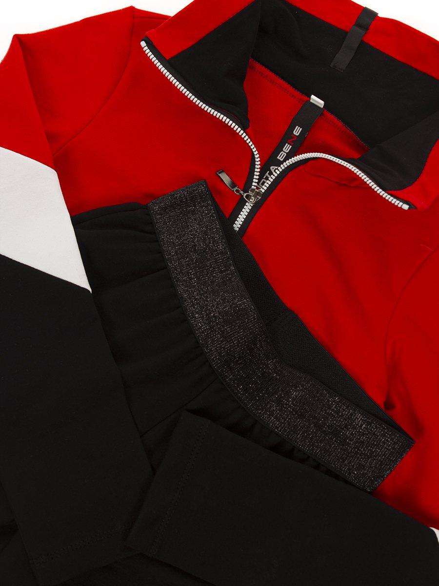 Костюм спортивный:толстовка укороченная и брюки зауженные на манжете, цвет: красный