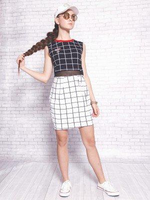 Платье из футера 2-х нитки и сетки