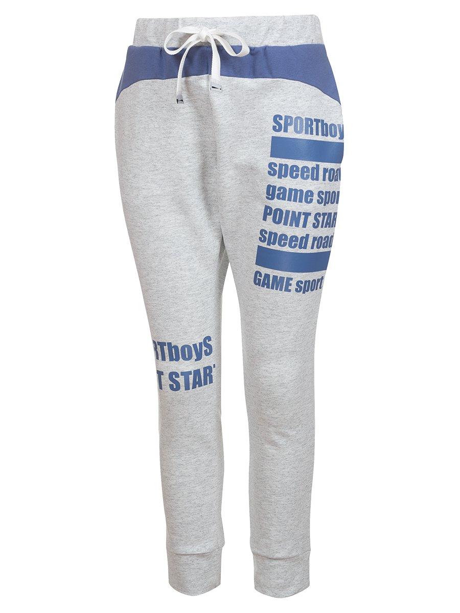 Джоггеры (брюки) из футера 2-х нитки, цвет: серый меланж