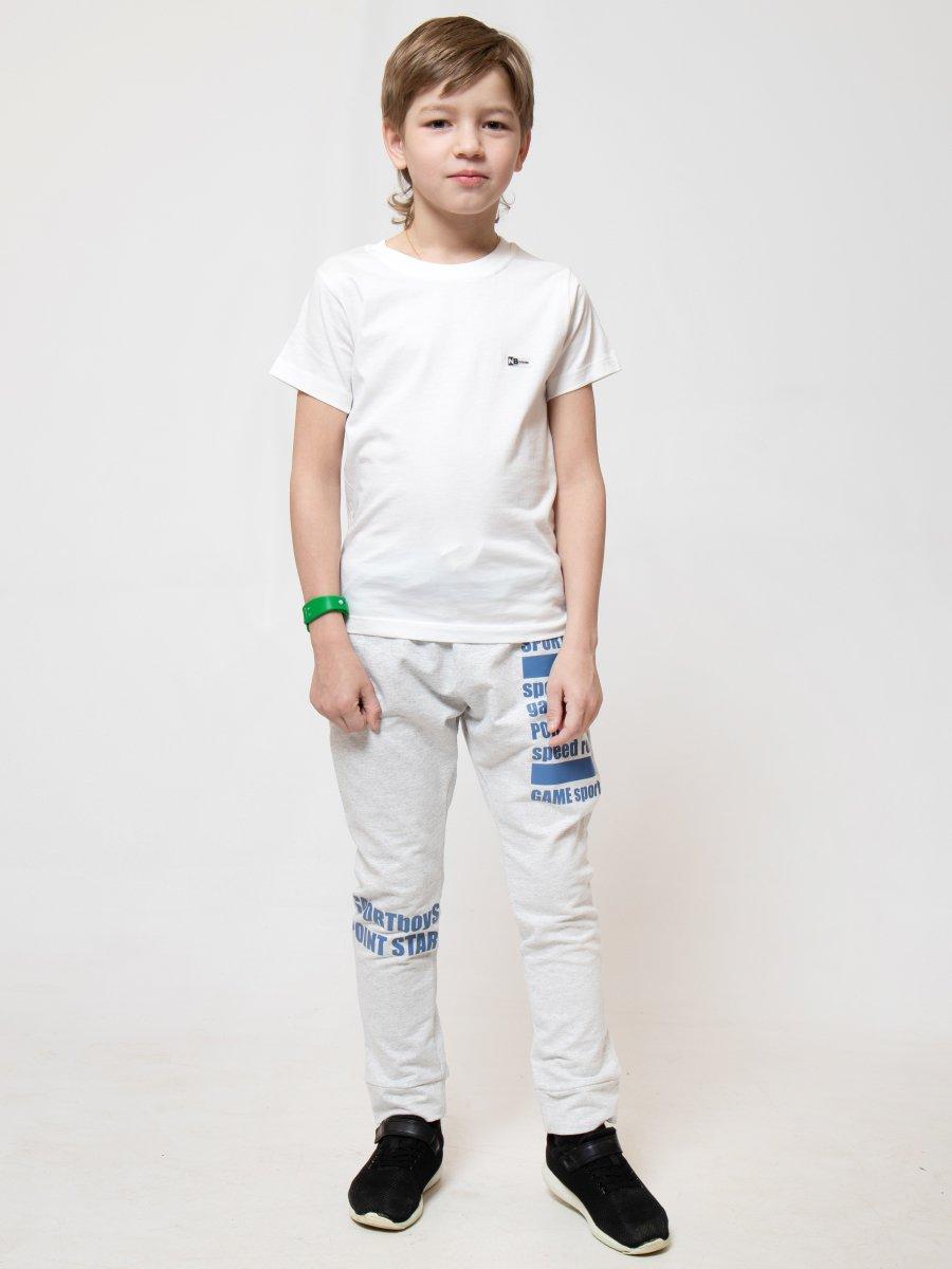 Брюки джоггеры зауженные по низу на манжете для мальчика, цвет: серый меланж