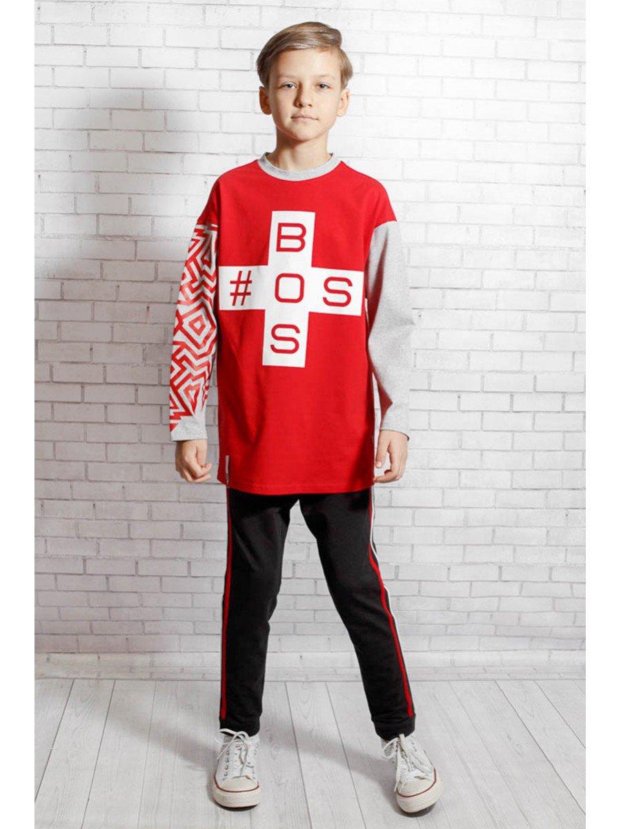 Лонгслив  для мальчика, цвет: красный