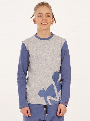 Лонгслив (футболка с длинным рукавом) с принтом из кулирки с лайкрой
