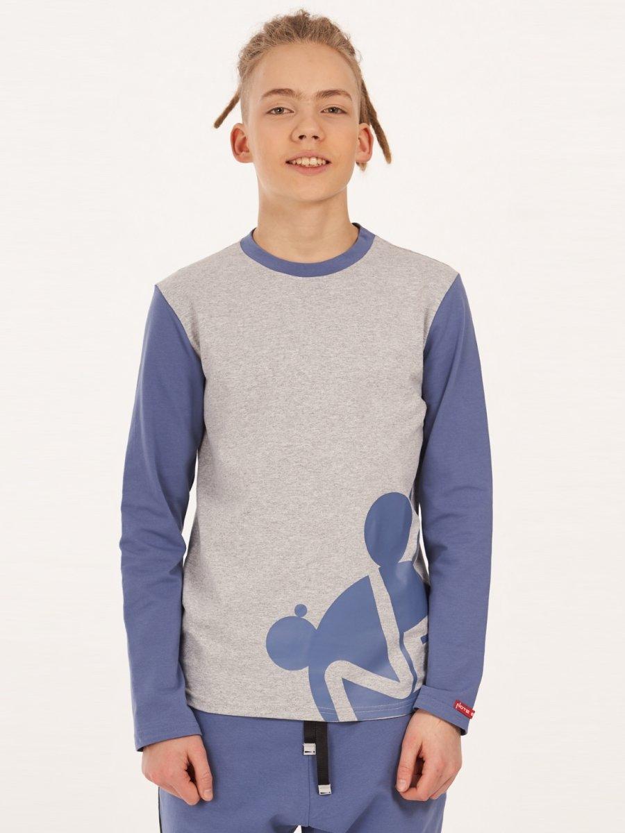 Лонгслив для мальчика, цвет: джинсовый