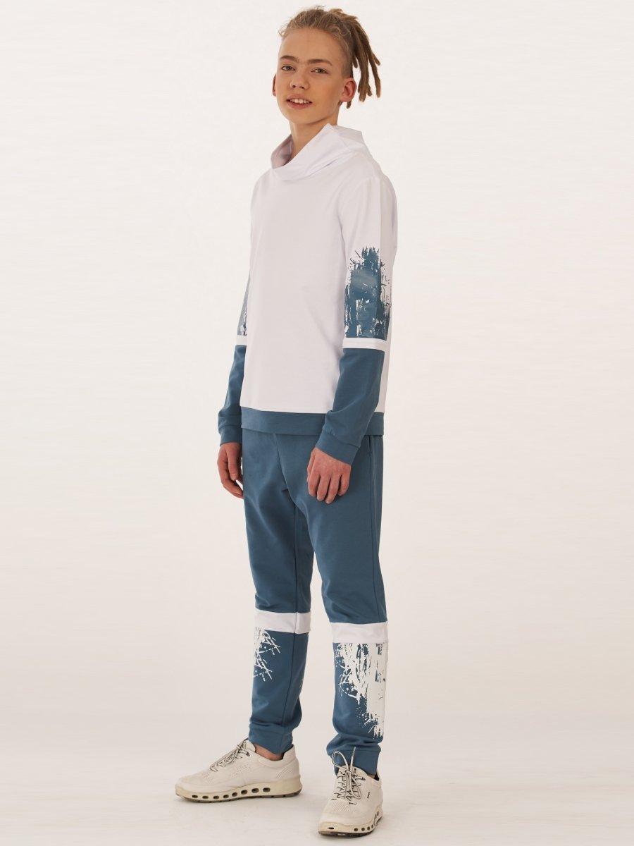Костюм спортивный: толстовка и брюки-джоггеры на манжете, цвет: белый