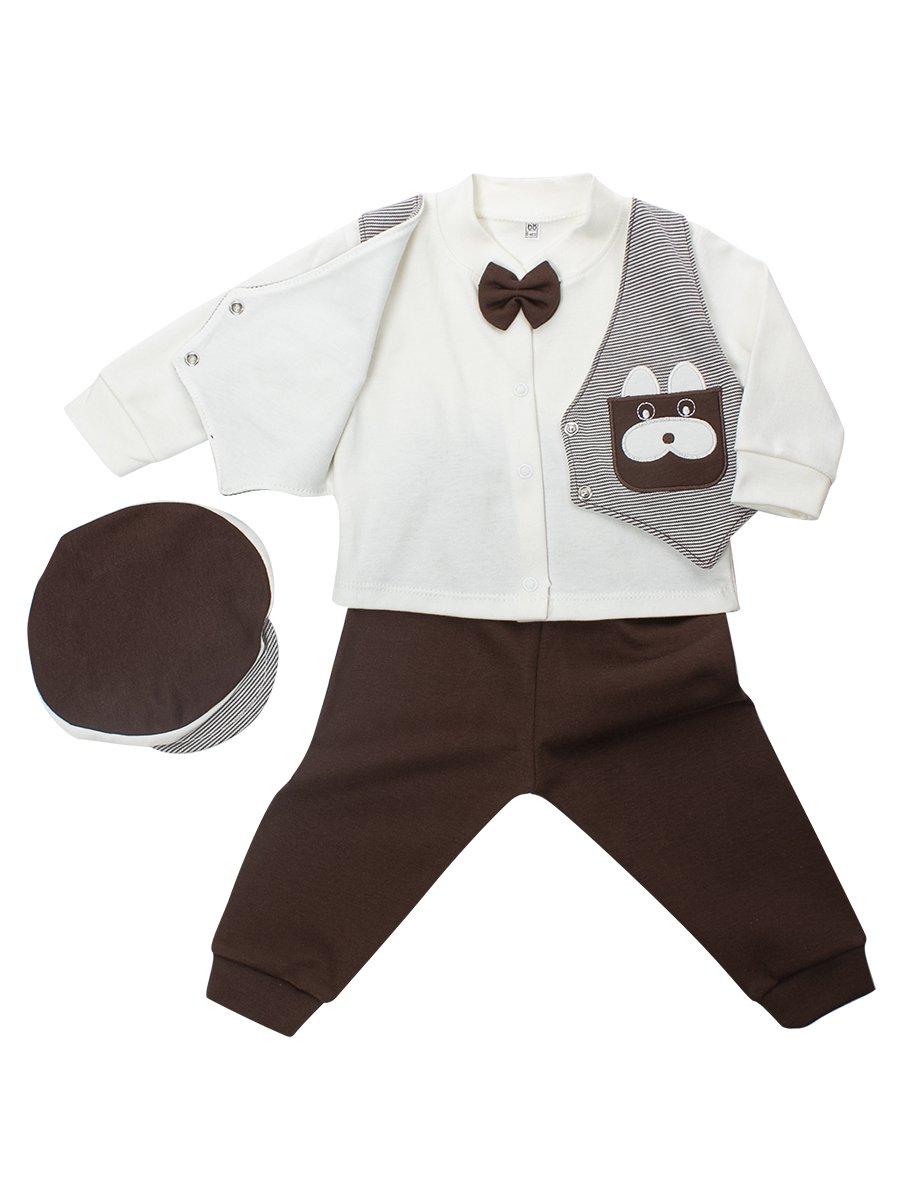 Комплект для мальчика: кофточка, штанишки и шапочка., цвет: коричневый