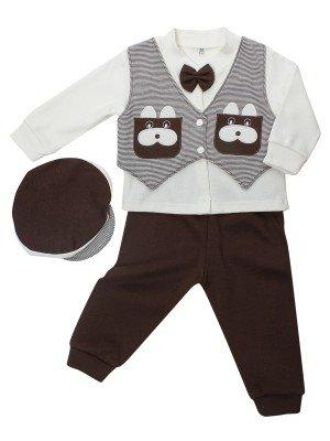 Комплект для мальчика: кофточка, штанишки и шапочка.