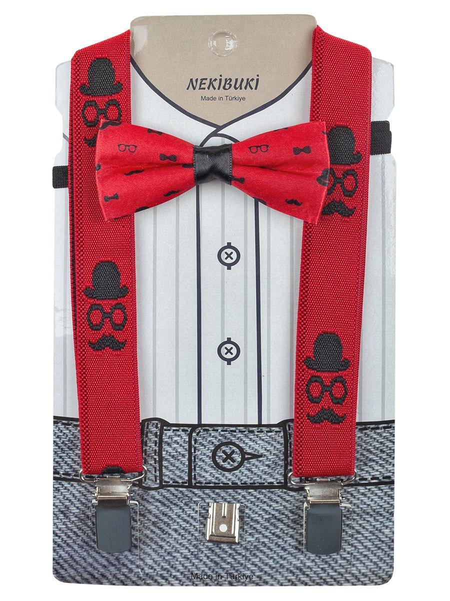 Набор для мальчика (подтяжки и бабочка), цвет: красный