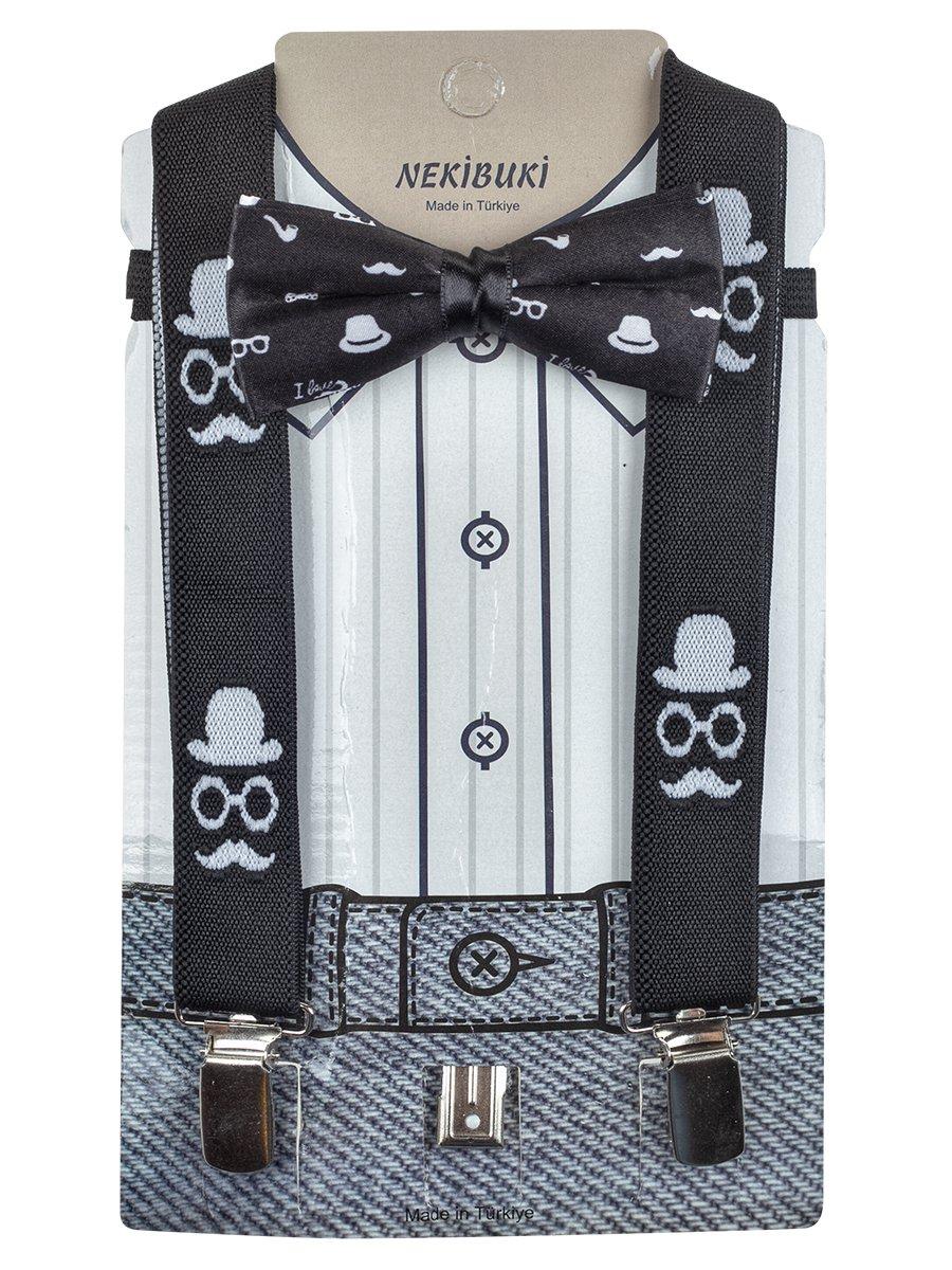 Набор для мальчика (подтяжки и бабочка), цвет: черный