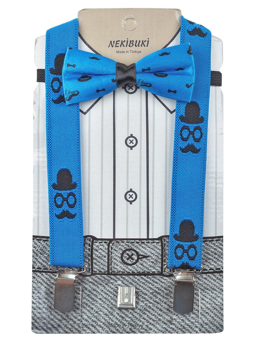 Набор для мальчика (подтяжки и бабочка), цвет: синий