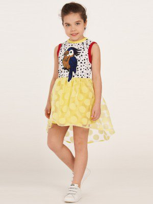 Платье из кулирки с лайкрой и органзы с принтом