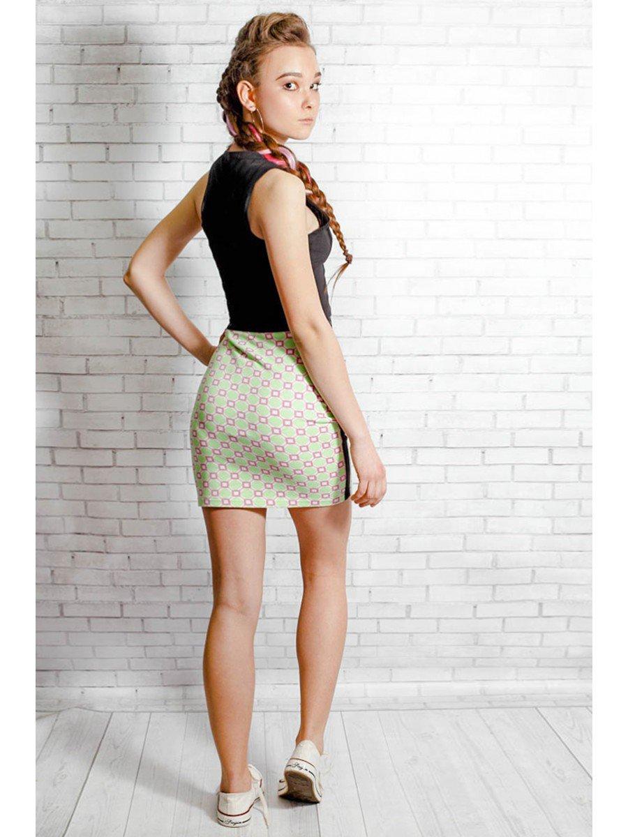 Комплект:топ укороченный и юбка прилегающего силуэта, цвет: мультиколор