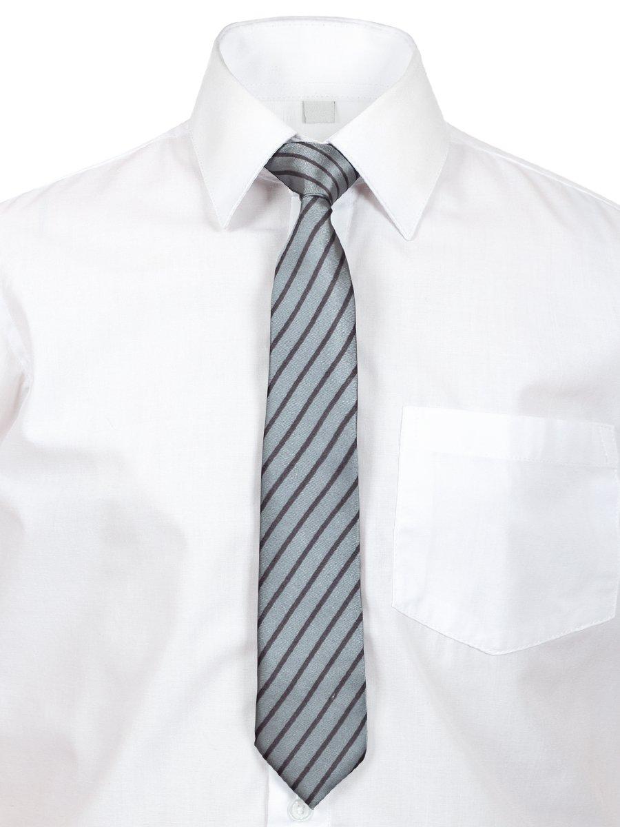 Галстук в подарочной упаковке для мальчика, длина 26см, цвет: серый