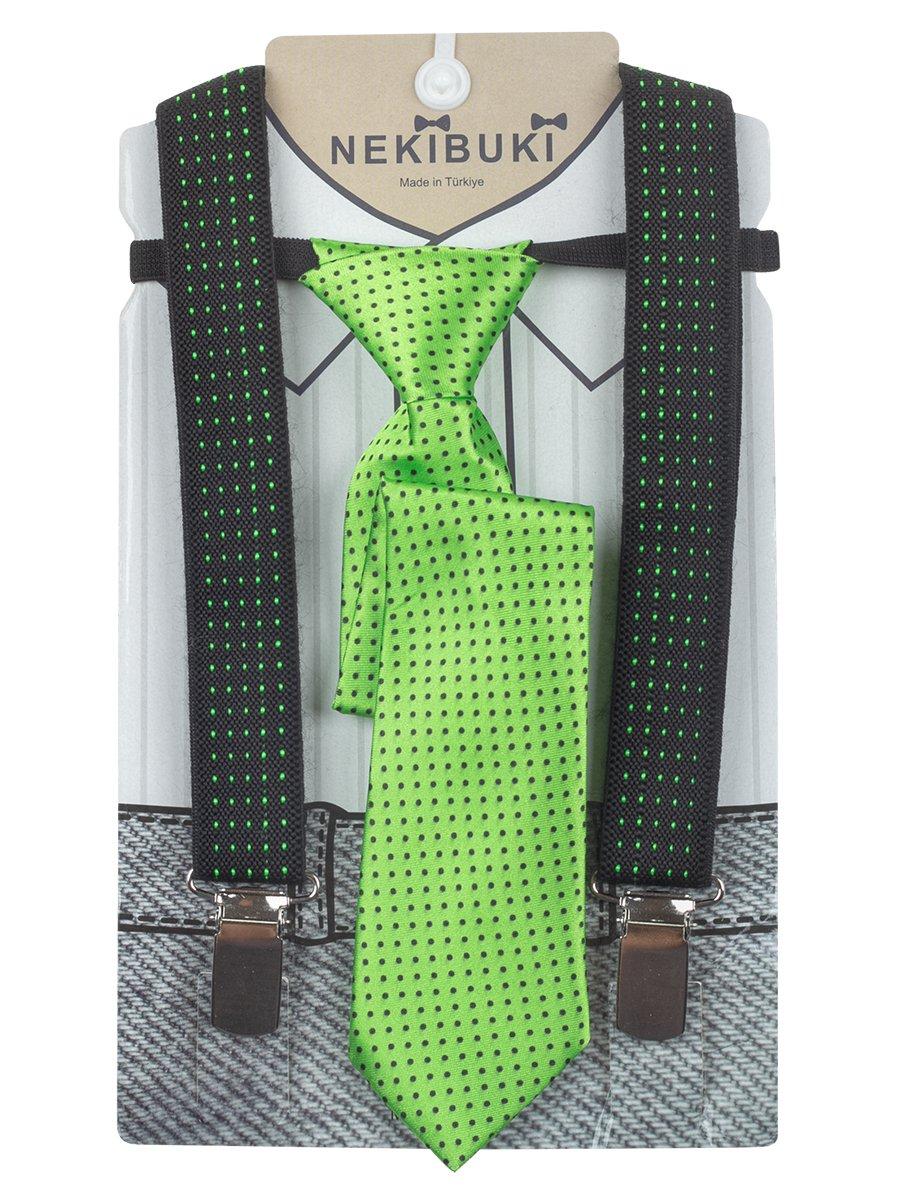 Набор подтяжки и галстук: длина галстука 26 см,подтяжки по спинке 45 см max, цвет: салатовый