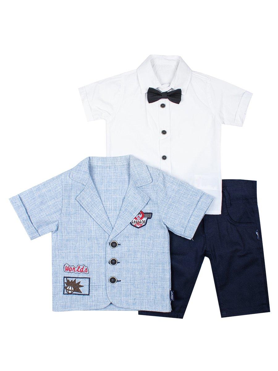 Комплект для мальчика: рубашка с бабочкой, штанишки и пиджак-рубашка, цвет: голубой